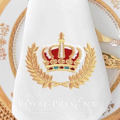 Королевская Корона в Венке Дизайн машинной вышивки - 3 размера