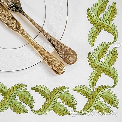 Листья для бордюра Дизайн машинной вышивки