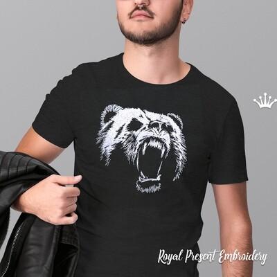 Свирепый Медведь Гризли Дизайн машинной вышивки - 4 размера