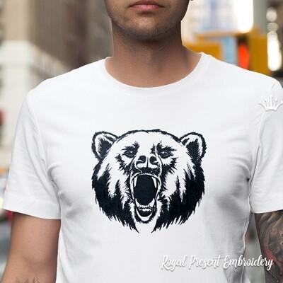 Черно белая голова Медведя Дизайн машинной вышивки - 3 размера