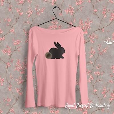 Дизайн машинной вышивки с Аппликацией Кролик - 4 размера