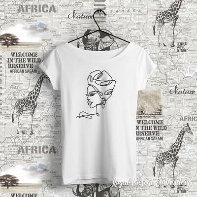 Контурная голова африканской девушки Дизайн машинной вышивки - 5 размеров