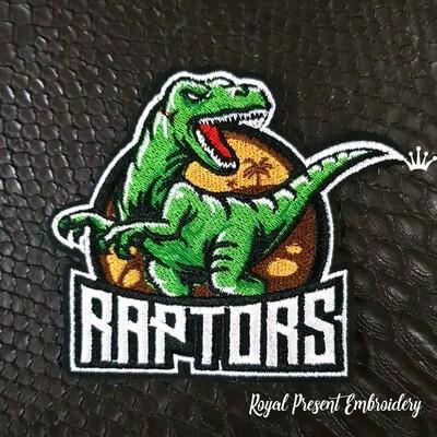 Динозавр Раптор Дизайн машинной вышивки