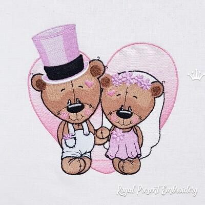 Жених и Невеста Мишки Дизайн машинной вышивки - 3 размера