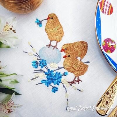 Три Пасхальных цыпленка Дизайн для машинной вышивки