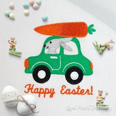 Пасхальный Кролик на машине Дизайн машинной вышивки - 2 размера