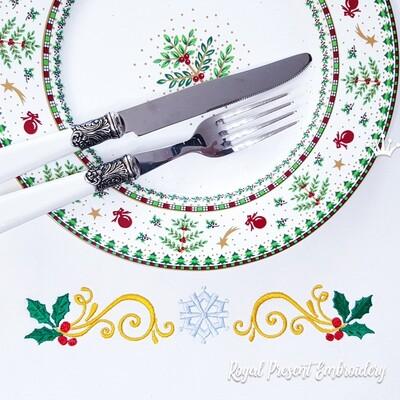 Бесплатный Новогодний набор с остролистом для машинной вышивки