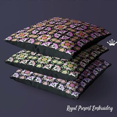 Китайский квадратный орнамент Дизайн машинной вышивки - 4 размера