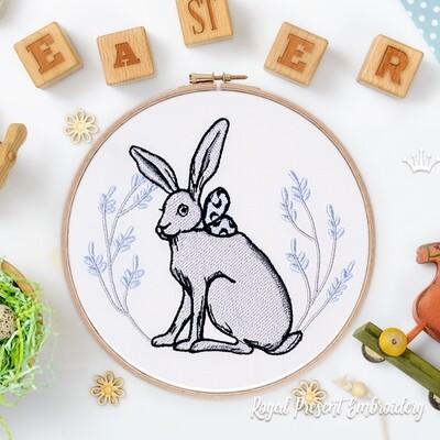 Пасхальный Кролик с бантом Дизайн машинной вышивки - 2 размера