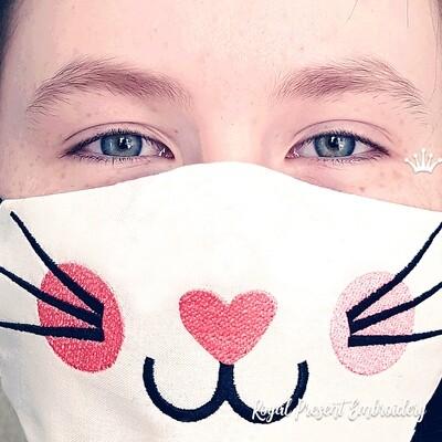 Защитная маска для лица кошечка Бесплатный Дизайн машинной вышивки