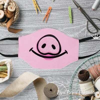 Модная маска для лица Свинка Бесплатный Дизайн машинной вышивки