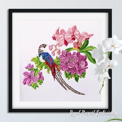 Дизайн машинной вышивки Тропическая птица и орхидеи - 2 размера