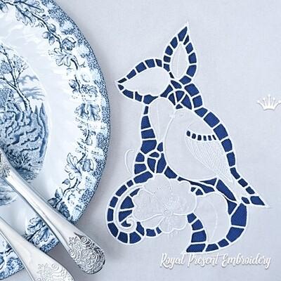 Снегирь ришелье Дизайн для машинной вышивки - 3 размера