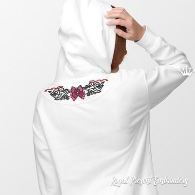 Бордюр Бабочка тату Дизайн машинной вышивки - 4 размера