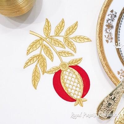 Золотой Гранат ветка Дизайн машинной вышивки - 6 размеров