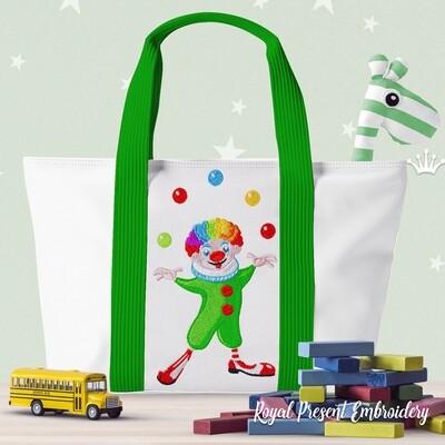 Клоун с мячиками Дизайн машинной вышивки - 3 размера