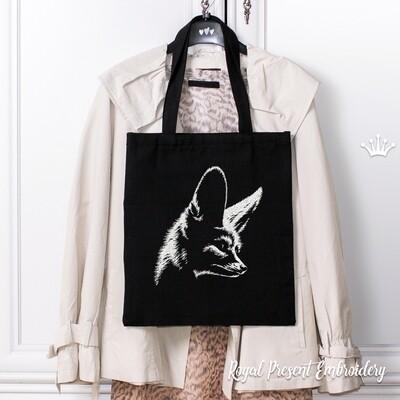 Черно белая Большеухая Лисица Дизайн машинной вышивки - 6 размеров
