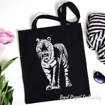 Черно белый Тигр Дизайн машинной вышивки - 7 размеров