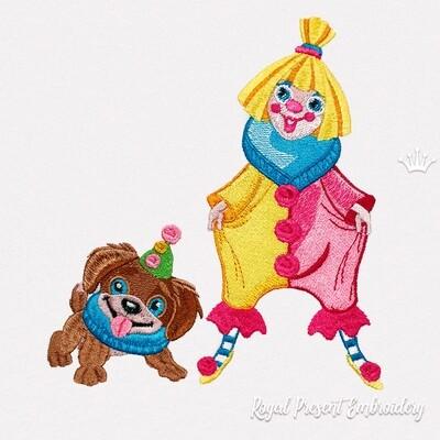 Клоун с собачкой Дизайн машинной вышивки - 4 размера