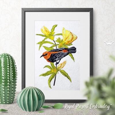 Красивая австралийская птичка Дизайн машинной вышивки