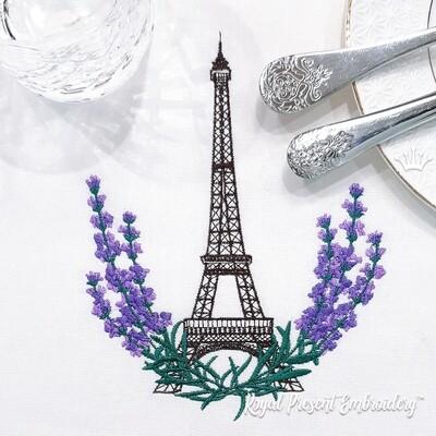 Эйфелева башня и Лаванда Дизайн для машинной вышивки - 3 размера
