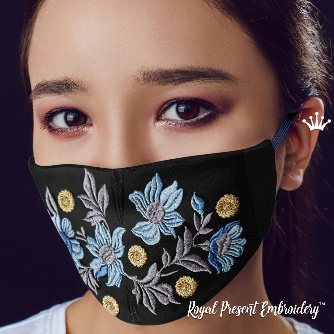 Модная маска для лица Цветы Бесплатный Дизайн машинной вышивки - 4 размера