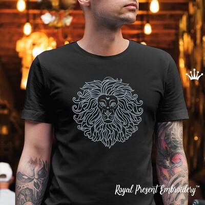 Голова Льва Дизайн машинной вышивки - 2 размера