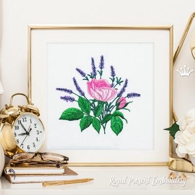 Розы и Лаванда Букет Дизайн машинной вышивки - 3 размера