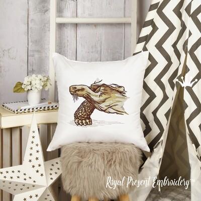 Слоновая Черепаха Дизайн машинной вышивки - 5 размеров