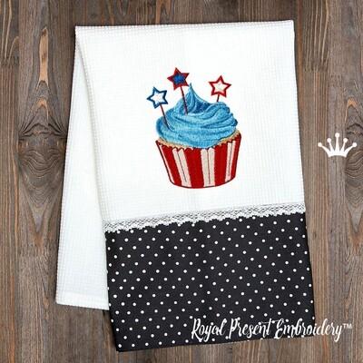Патриотический кекс со звездами дизайн машинной вышивки - 4 размера