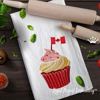 Кекс с флагом Канады дизайн машинной вышивки - 4 размера