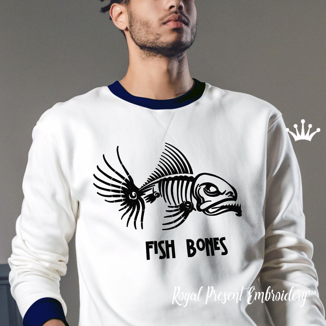 Скелет Рыбы Дизайн машинной вышивки - 4 размера