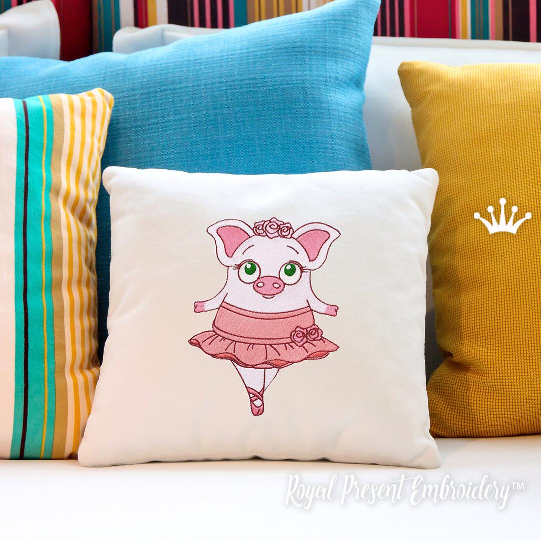 Свинка Балеринка дизайн машинной вышивки  - 4 размера