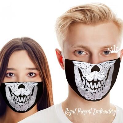 Маска для лица Череп Бесплатный Дизайн машинной вышивки - 4 размера