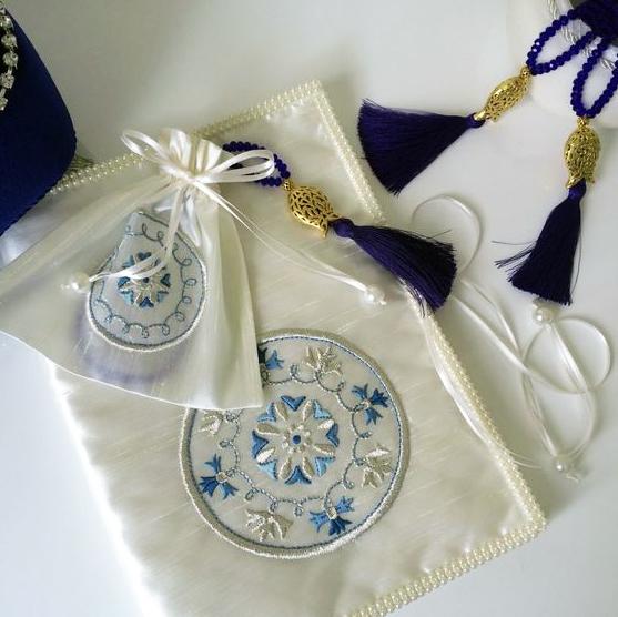 Дизайны машинной вышивки Восточный Синий орнамент - 2 в 1