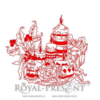 Рождественские свечи Дизайн машинной вышивки