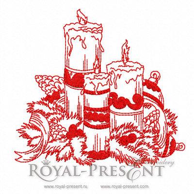Дизайн машинной вышивки Рождественские свечи