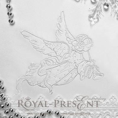 Дизайн машинной вышивки Рождественский Ангел - 3 размера