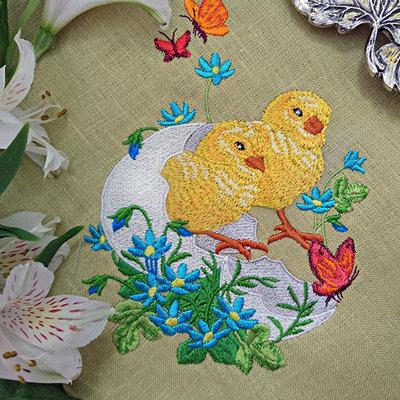 Дизайн машинной вышивки Пасхальные Цыплята в яйце - 2 размера