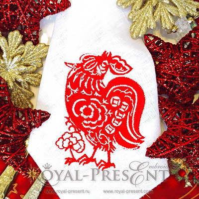Дизайн машинной вышивки Петух в китайском стиле