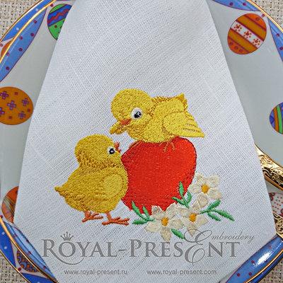 Дизайн для машинной вышивки Пасхальные цыплята