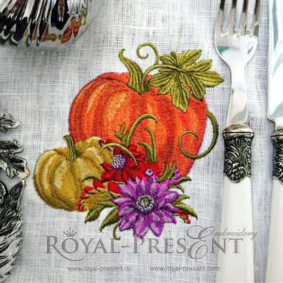 Дизайн машинной вышивки Тыква с цветами