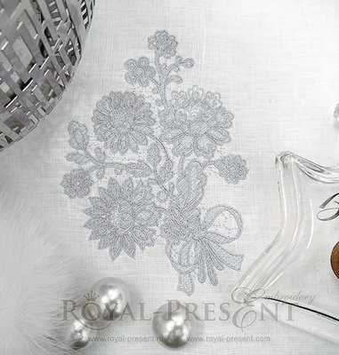 Дизайн машинной вышивки Кружевной букет - 4 размера