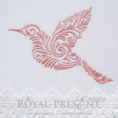 Дизайн машинной вышивки Орнаментальная птичка - 4 размера