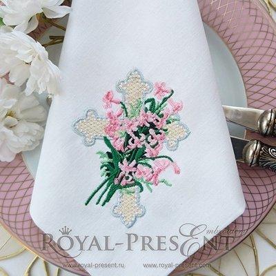 Дизайн машинной вышивки Пасхальный крест с лилиями - 2 размера