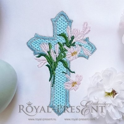 Дизайн машинной вышивки Голубой Пасхальный Крест с лилиями - 2 размера