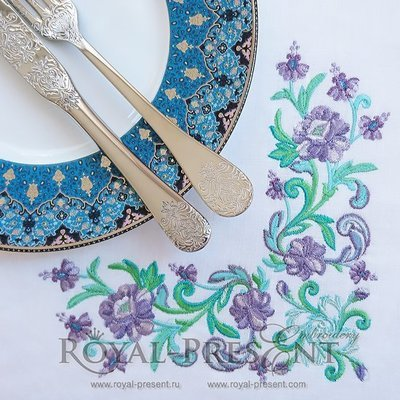 Угловой дизайн машинной вышивки Изумрудные цветы
