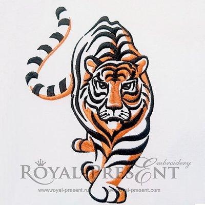 Дизайн для машинной вышивки Тигр - 3 размера