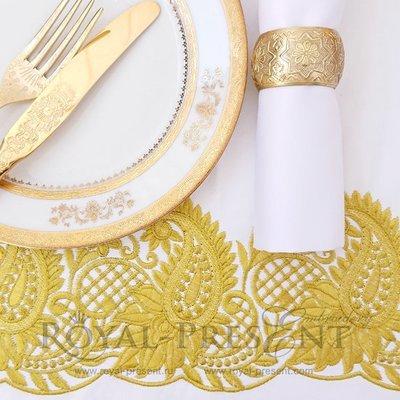 Дизайн машинной вышивки Золотой Восточный кружевной бордюр