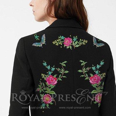 Набор дизайнов машинной вышивки Цветы и бабочки -  3 в 1